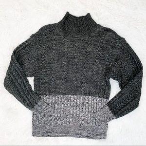 Splendid colorblock mock neck pullover sweater